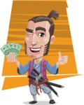 Samurai Warrior Cartoon Vector Character AKA Hattori - Shape 8