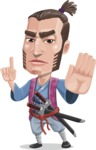 Samurai Warrior Cartoon Vector Character AKA Hattori - Direct Attention