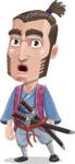 Samurai Warrior Cartoon Vector Character AKA Hattori - Stunned
