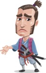 Samurai Warrior Cartoon Vector Character AKA Hattori - Sad