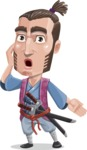Samurai Warrior Cartoon Vector Character AKA Hattori - Shocked