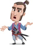 Samurai Warrior Cartoon Vector Character AKA Hattori - Confused