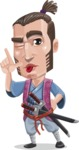 Samurai Warrior Cartoon Vector Character AKA Hattori - Making face