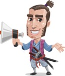 Samurai Warrior Cartoon Vector Character AKA Hattori - Loudspeaker