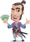 Samurai Warrior Cartoon Vector Character AKA Hattori - Show me the money