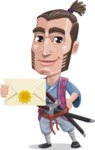Samurai Warrior Cartoon Vector Character AKA Hattori - Letter