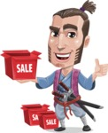 Samurai Warrior Cartoon Vector Character AKA Hattori - Sale