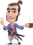 Samurai Warrior Cartoon Vector Character AKA Hattori - Coffee