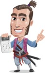 Samurai Warrior Cartoon Vector Character AKA Hattori - Calculator