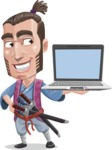 Samurai Warrior Cartoon Vector Character AKA Hattori - Laptop 3
