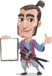 Samurai Warrior Cartoon Vector Character AKA Hattori - Notepad 1