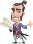 Samurai Warrior Cartoon Vector Character AKA Hattori - Plans