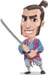 Samurai Warrior Cartoon Vector Character AKA Hattori - Sword 1