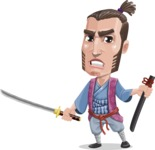 Samurai Warrior Cartoon Vector Character AKA Hattori - Sword 4