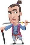 Samurai Warrior Cartoon Vector Character AKA Hattori - Sword 6
