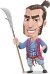 Samurai Warrior Cartoon Vector Character AKA Hattori - Spear 1
