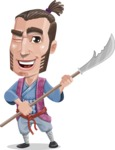 Samurai Warrior Cartoon Vector Character AKA Hattori - Spear 2
