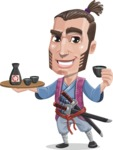 Samurai Warrior Cartoon Vector Character AKA Hattori - Sake