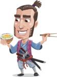 Samurai Warrior Cartoon Vector Character AKA Hattori - Rice bowl
