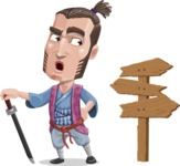 Samurai Warrior Cartoon Vector Character AKA Hattori - Crossroad