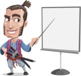 Samurai Warrior Cartoon Vector Character AKA Hattori - Presentation 2
