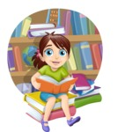 School Girl With Books Scene