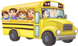 Kids Waving from Yellow Bus
