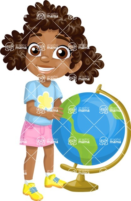 School Girl with a Globe