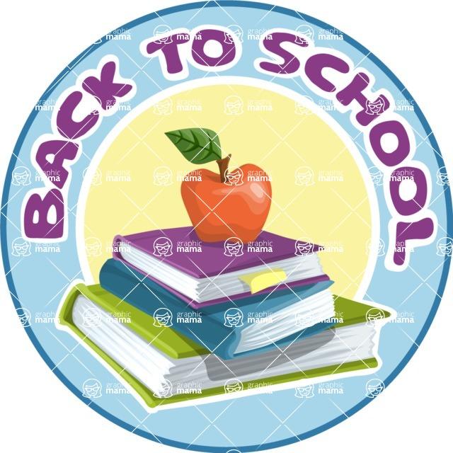 School Sticker with Books