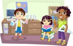 Kids in School Science Room