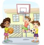 Basketball in the School Yard