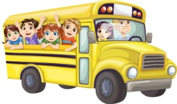 Kids Waving from Yellow Bus