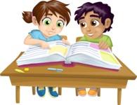 Pupils at a School Desk
