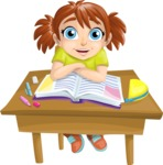 School girl at a Desk