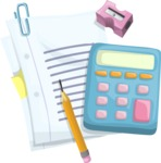 School Papers and Calculator