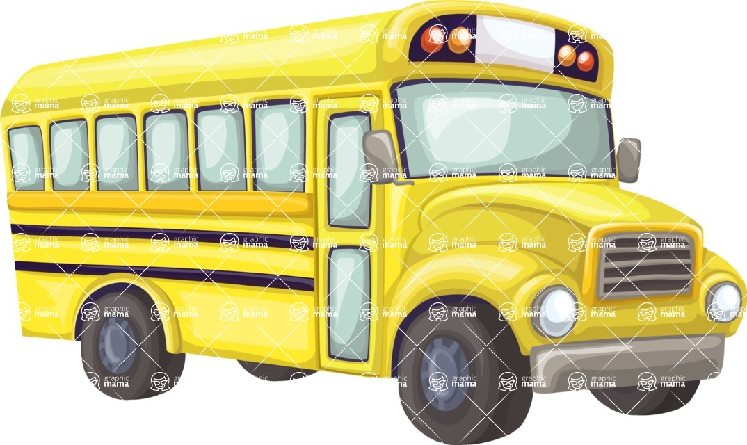 School vector graphics pack - editable schoolboy, schoolgirl, pupil, teacher characters, items, icons, illustrations, backgrounds, scenes - Yellow School Bus 2