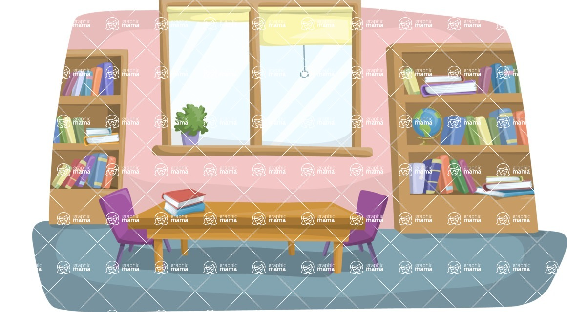 School vector graphics pack - editable schoolboy, schoolgirl, pupil, teacher characters, items, icons, illustrations, backgrounds, scenes - School Library