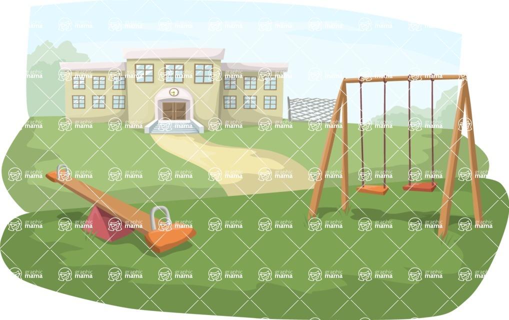 School vector graphics pack - editable schoolboy, schoolgirl, pupil, teacher characters, items, icons, illustrations, backgrounds, scenes - School Playground Scenery