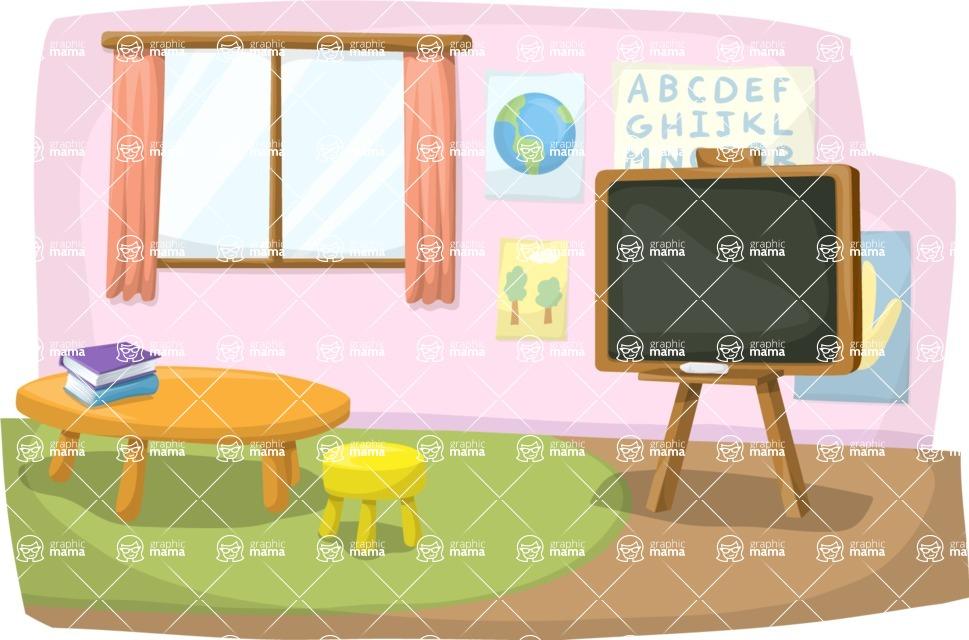 School vector graphics pack - editable schoolboy, schoolgirl, pupil, teacher characters, items, icons, illustrations, backgrounds, scenes - Elementary School Room
