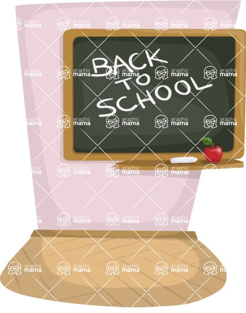 School vector graphics pack - editable schoolboy, schoolgirl, pupil, teacher characters, items, icons, illustrations, backgrounds, scenes - Blackboard in a Classroom