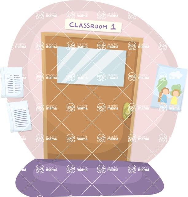 School vector graphics pack - editable schoolboy, schoolgirl, pupil, teacher characters, items, icons, illustrations, backgrounds, scenes - Classroom Door