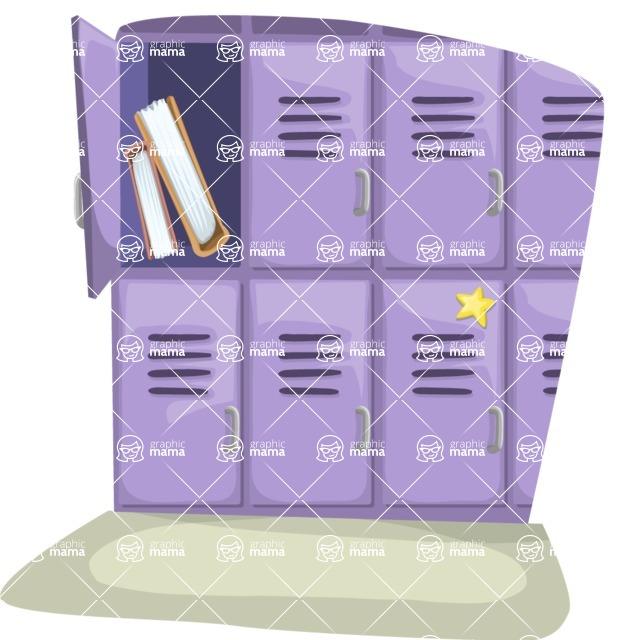 School vector graphics pack - editable schoolboy, schoolgirl, pupil, teacher characters, items, icons, illustrations, backgrounds, scenes - School Lockers