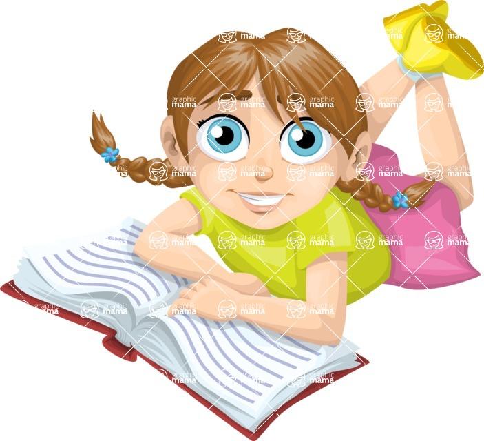 School vector graphics pack - editable schoolboy, schoolgirl, pupil, teacher characters, items, icons, illustrations, backgrounds, scenes - School Girl Reading