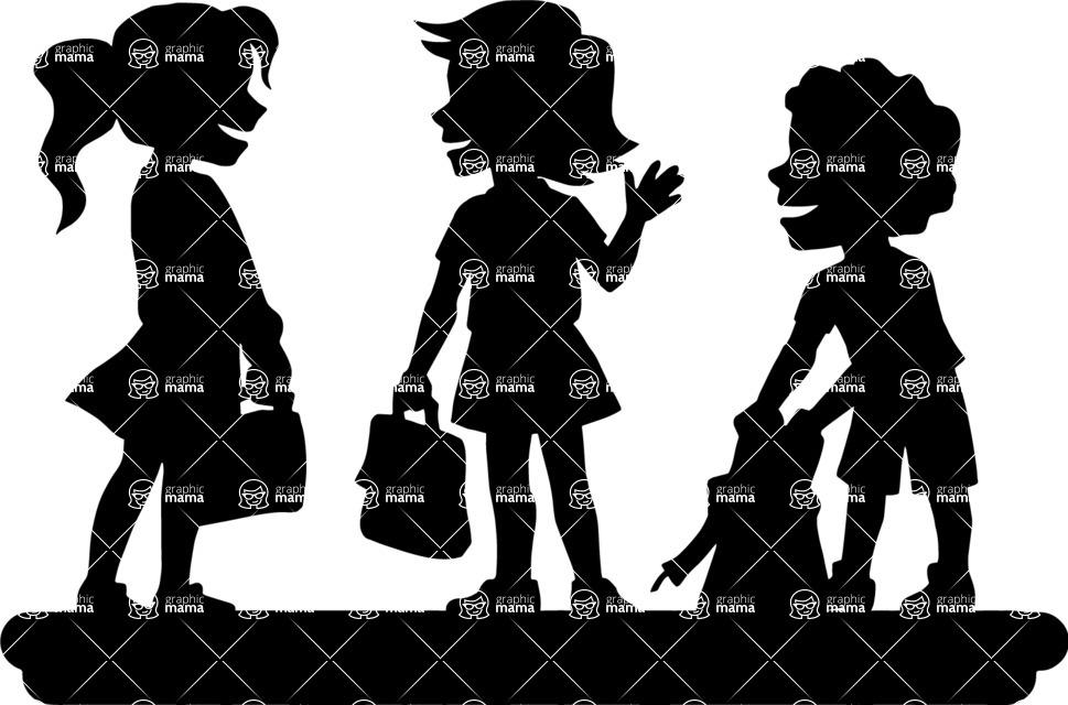 School vector graphics pack - editable schoolboy, schoolgirl, pupil, teacher characters, items, icons, illustrations, backgrounds, scenes - School Kids Talking