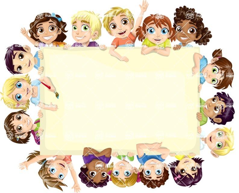 School vector graphics pack - editable schoolboy, schoolgirl, pupil, teacher characters, items, icons, illustrations, backgrounds, scenes - School Kids Frame