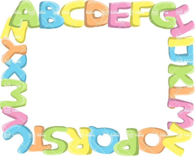 School vector graphics pack - editable schoolboy, schoolgirl, pupil, teacher characters, items, icons, illustrations, backgrounds, scenes - Alphabet Frame