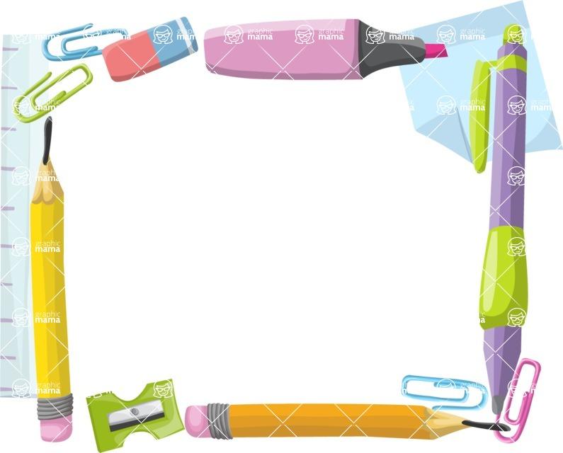 School vector graphics pack - editable schoolboy, schoolgirl, pupil, teacher characters, items, icons, illustrations, backgrounds, scenes - School Accessories Frame