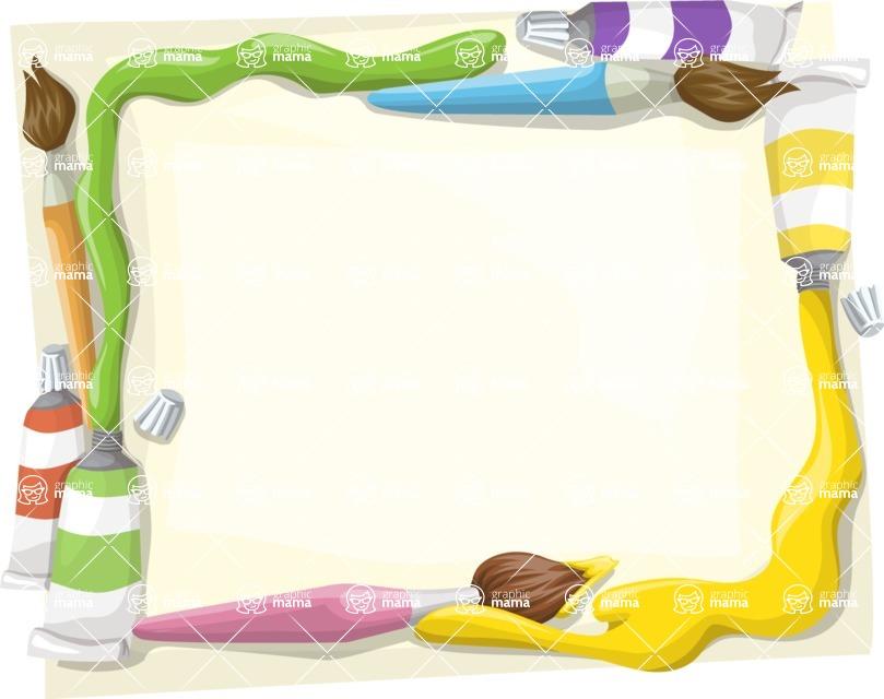 School vector graphics pack - editable schoolboy, schoolgirl, pupil, teacher characters, items, icons, illustrations, backgrounds, scenes - Oil Paint Tubes Frame