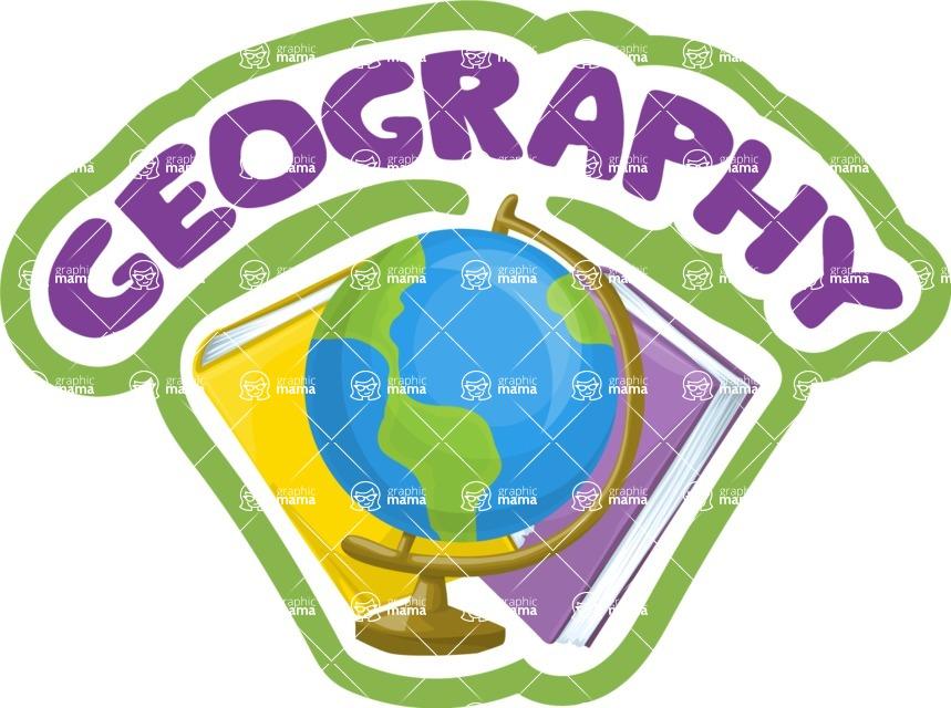 School vector graphics pack - editable schoolboy, schoolgirl, pupil, teacher characters, items, icons, illustrations, backgrounds, scenes - Geography School Sticker