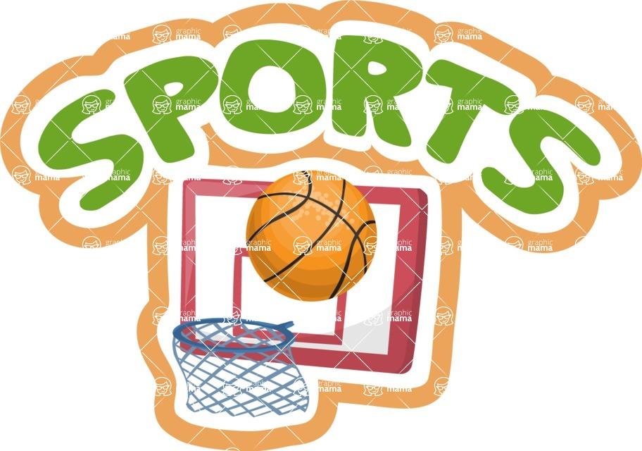 School vector graphics pack - editable schoolboy, schoolgirl, pupil, teacher characters, items, icons, illustrations, backgrounds, scenes - Sports School Sticker